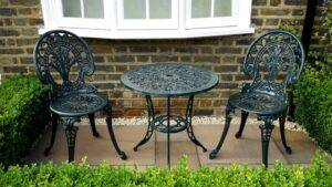 A picture of metal furniture
